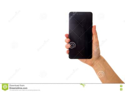 Woman's Hand Holding A Smartphone Stock Photo - Image: 78846098
