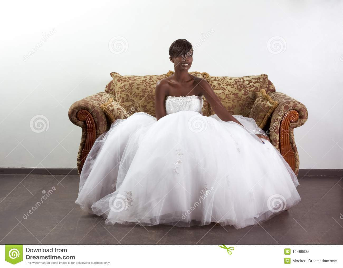 royalty free stock photo young ethnic black woman bride wedding dress image african american wedding dresses Young ethnic black woman bride in wedding dress