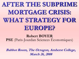 PPT - The Subprime Mortgage Crisis PowerPoint Presentation - ID:264118
