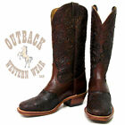 Boulet Women's Brown Tooled Exclusive Square Toe Boots 1062X