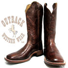Boulet Women's Rustic Eagle Brandy Floral Tooled Wide Square Toe Boots 3207