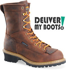 "Men's Carolina Boots CA8824 -  8"" Brown Waterproof Lace-to-Toe Logger"