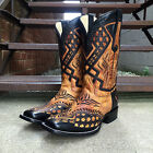 CORRAL MEN'S BLACK SADDLE OVERLAY SQUARE TOE WESTERN BOOTS G1272