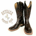 Boulet Women's Chocolate Tooled Belly Caiman Boots 3510