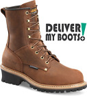 "Men's Carolina Boots CA9821 -  8"" Brown Waterproof Steel Toe Logger"