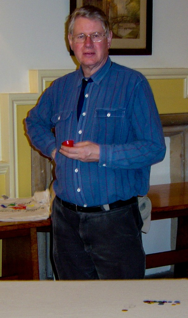 Charles Relle, with tiddlywinks cup, at a match celebrating CUTwC's 50th anniversary (13 January 2005).