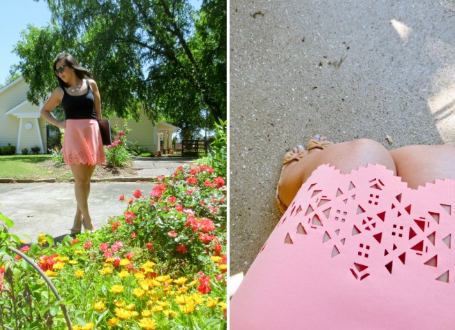 Christina's Summer Style: Lasercut High-waisted Skirt | tide & bloom