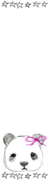 ネットショップ、バナー広告のwebデザイン素材:手描き鉛筆風の大人可愛いモノクロのパンダと手描きの星ラインのフレーム(160×600pix)