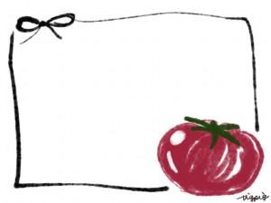 webデザイン、バナー広告、ネットショップのフリー素材:大人可愛いトマトとモノクロのリボンの夏の野菜イラストのフレーム(640×480pix)