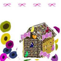 フリー素材:アイコン(twitter);大人可愛いお菓子の家とピンクのリボンとカラフルな北欧デザインの花
