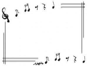 フリー素材:フレーム;モノトーンの手描きの音符とラインのフレーム;640×480pix