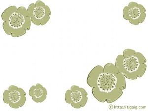 フリー素材:フレーム;北欧風レトロモダンなケシの花;640×480pix