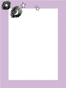 大人可愛いフリー素材:落書き風の月と星と大人可愛い紫のフレーム;640×480pix