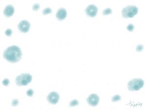 フリー素材:和風フレーム:水彩風のにみじが大人可愛いパステルブルーの水玉;640×480pix