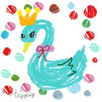 アイコン,バナー(twitter)のフリー素材;カラフルでラフなドットとブルーのガーリーな白鳥のイラスト;200×200pix