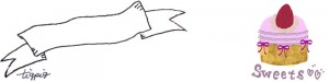 フェアリー系イチゴケーキと大人可愛いリボンの見出しのヘッダー用フリー素材