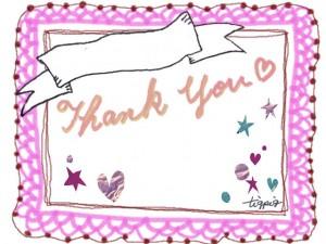 Thank youの手書き文字と大人可愛いレースとガーリーなハートと星いっぱいのフレームのフリー素材