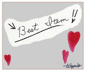 ガーリーな手書き文字「Best Item」と大人可愛いハートのフレームのフリー素材