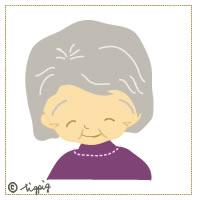 HP制作のアイコンに使えるおばあちゃんのかわいいイラストのフリー素材:200×200pix