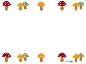 大人可愛いキノコの飾り罫のイラストの秋のwebデザイン素材;640×480pix
