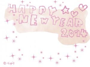 HAPPY NEW YEAR 2014の手描き文字とハートと星とキラキラのフレーム(ピンクver.):640×480pix