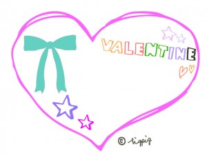 VALENTINEの手描き文字とリボンと星とハート