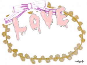 LOVEのポップな手描き文字とリボンとレースのラベル風フレーム:640×480pix