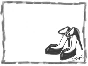 フェミニンな黒いハイヒールのイラストと鉛筆風ラインのフレーム:640×480pix
