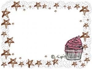 大人可愛いカップケーキのイラストと水彩の星とレースのフレーム