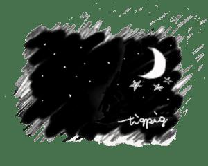 モノトーンの月と星の夜空のイラスト(350×280pix)