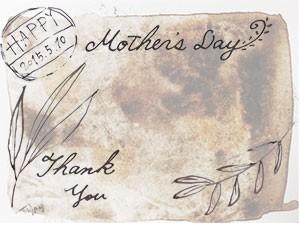 母の日(2015)のフリー素材:アンティークのポストカード風植物のイラストと手書き文字;300×225pix