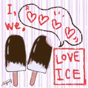 夏の無料素材-チョコレートの棒アイスとI LOVE ICEの手書き文字とフキダシ-ストライプ背景;400×400pix