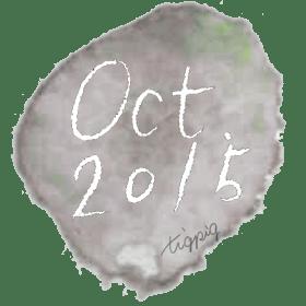 大人可愛い手書き文字october(10月)2015の手書き文字と水彩のシミみたいな背景2点