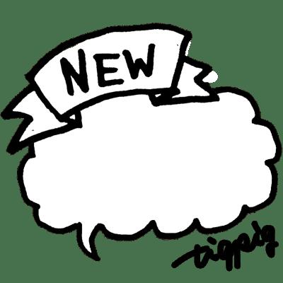 サインペンの落書き風の手書き文字とNEWのリボンとフキダシ(文字なし):400×400pix
