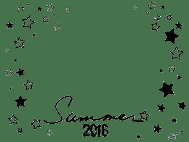 Summer2016の手書き文字とモノトーンの星いっぱいのフレーム:640×480pix