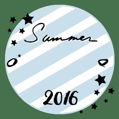 万年筆風の手書き文字Summer 2016と星と青と白のストライプの丸いラベル素材:400×400pix