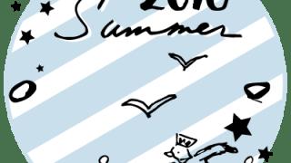 夏らしいカモメとSummer 2016の手書き文字と星とブルーのストライプの丸いラベル素材:400×400pix