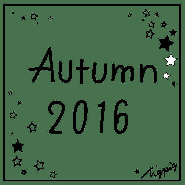 ネットショップ制作に使えるモノトーンのAutumn 2016の手書き文字と星のフレーム:600×600pix