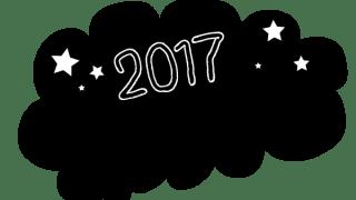 コミック風パンク型のフキダシと2017の手書き文字と星[黒]:600×600pix