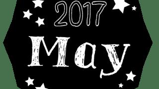 【2017年5月】2017 May の手書き文字と星のラベル<多角形><モノトーン>:のweb素材600×600pix