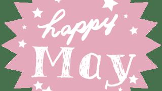 【5月】happy Mayの手書き文字と星のギザギザのラベル素材<ピンク>:600×600pix