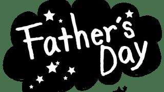 【父の日】Fathe's Dayの手書き文字と星のモノトーンのフキダシ素材<黒>
