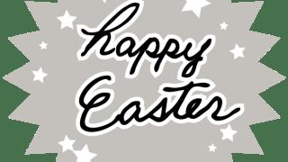 【イースター】 happy Easterの手書き文字と星のペールグレーのギザギザのラベル素材:600×600pix