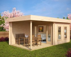 Contemporary Garden Log Cabin with Veranda Lucas E 9m² / 44mm / 6 x 3 m