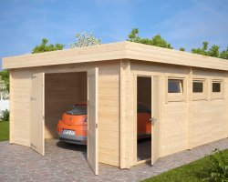 Large Timber Garage D with Double Doors / 44mm / 4,5 x 5,5 m