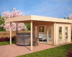 Modern Garden Log Cabin with Canopy Lucas E 9m² / 44mm / 3 x 3 m