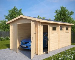 Wooden Garage A with Double Doors / 44mm / 3 x 5,5 m