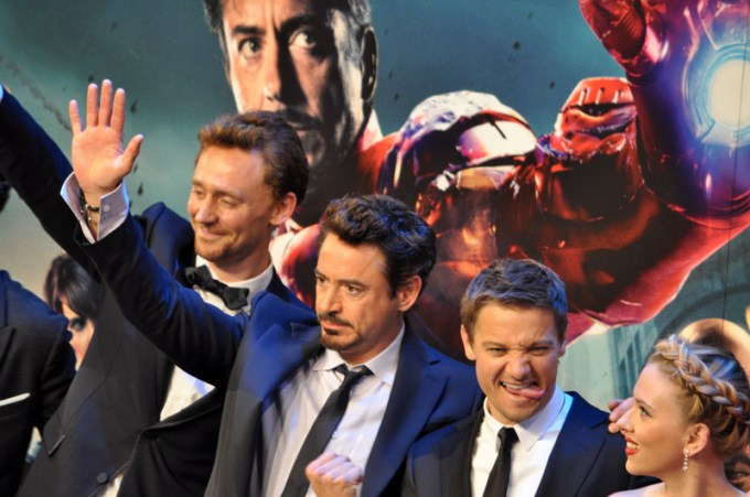 Robert Downey Jr, Tom Hiddleston and Jeremy Renner