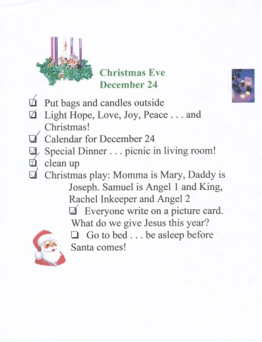 Christmas Eve checklist