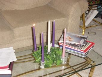 Our earliest ADvent wreath, lit on the first Sunday.